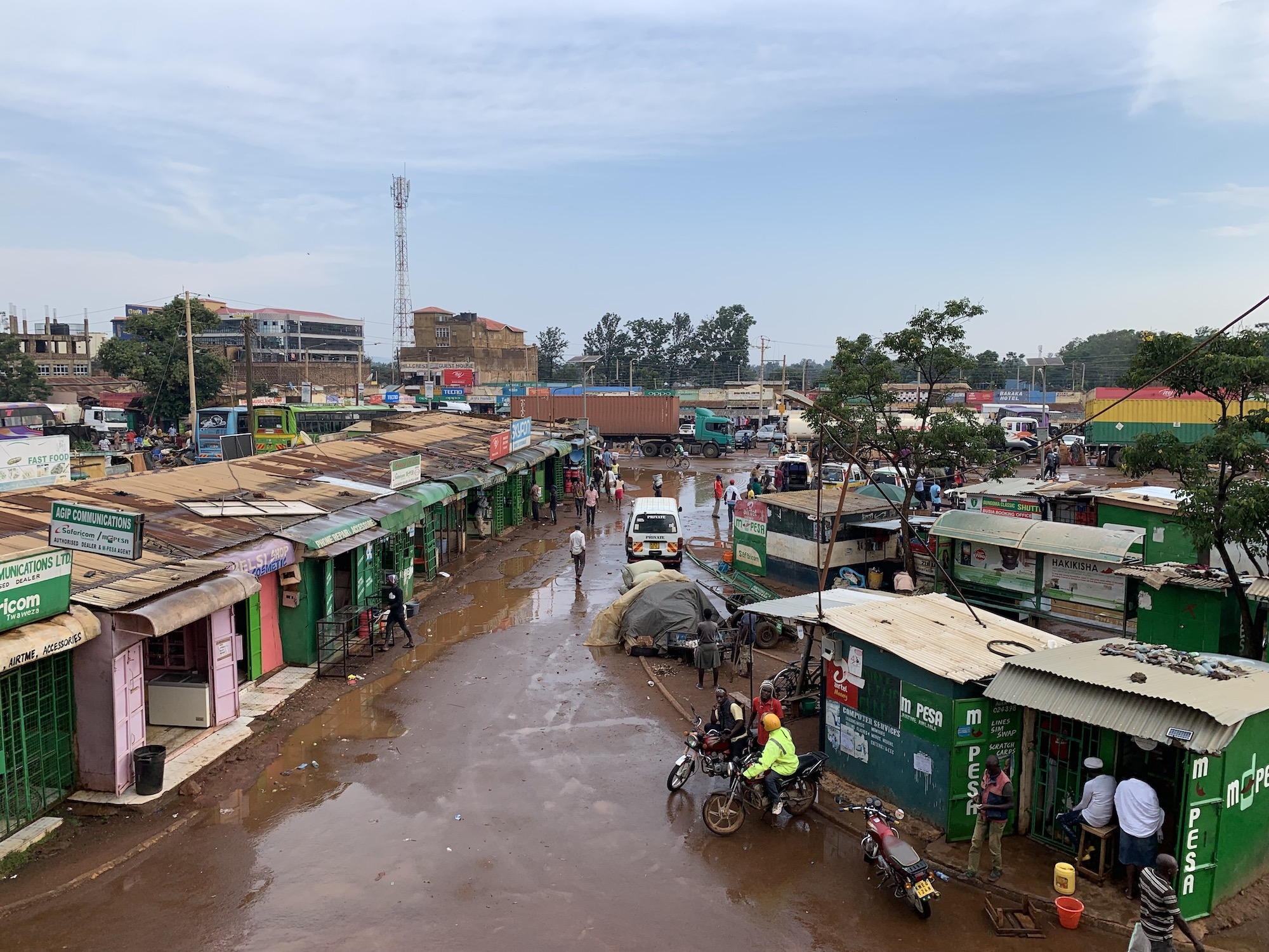 Downtown Busia after a rainy day.